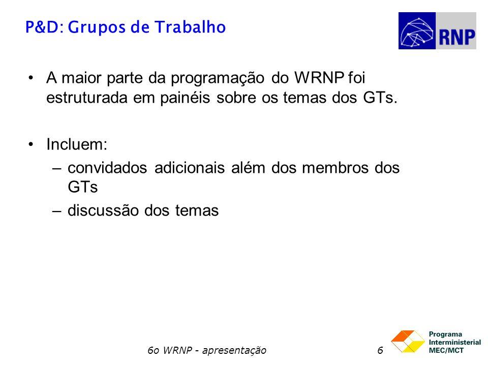 P&D: Grupos de Trabalho