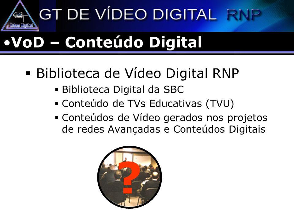 VoD – Conteúdo Digital Biblioteca de Vídeo Digital RNP