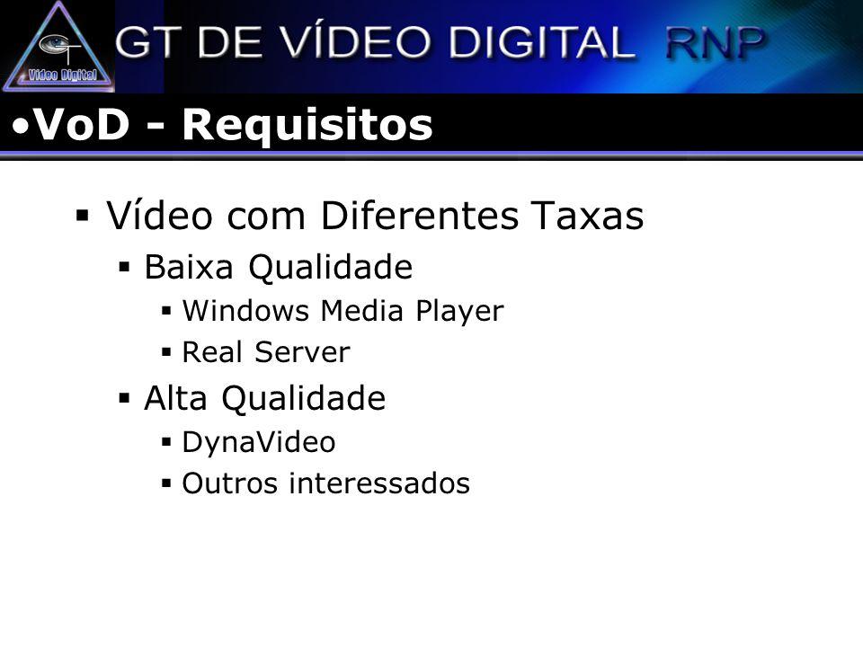 VoD - Requisitos Vídeo com Diferentes Taxas Baixa Qualidade
