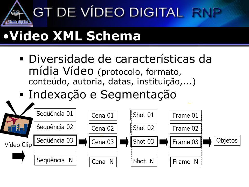 Video XML Schema Diversidade de características da mídia Vídeo (protocolo, formato, conteúdo, autoria, datas, instituição,...)