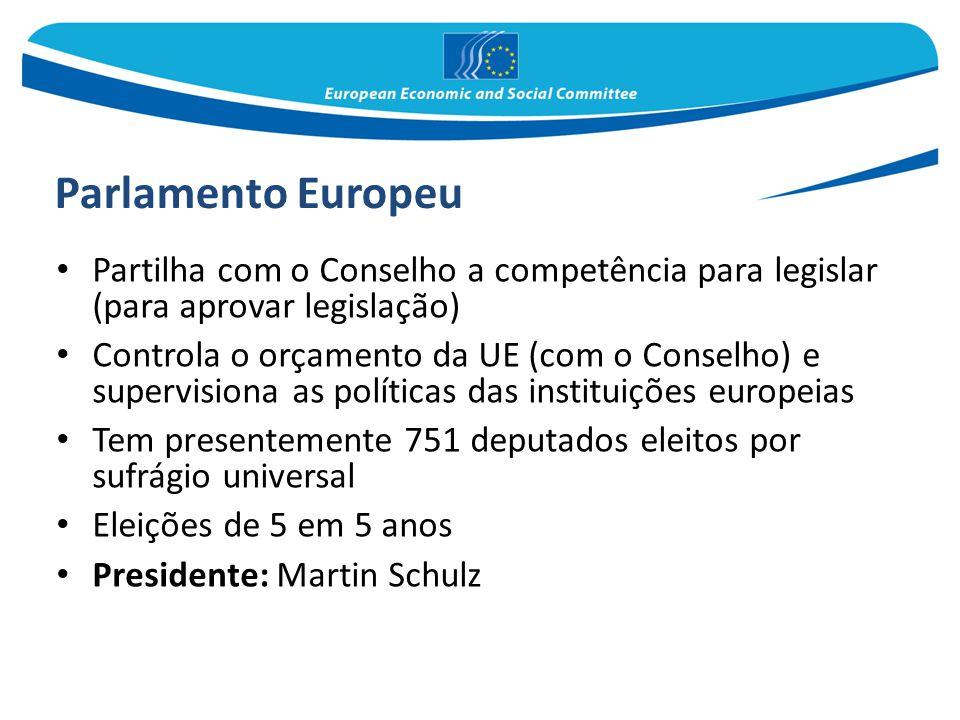 Parlamento Europeu Partilha com o Conselho a competência para legislar (para aprovar legislação)