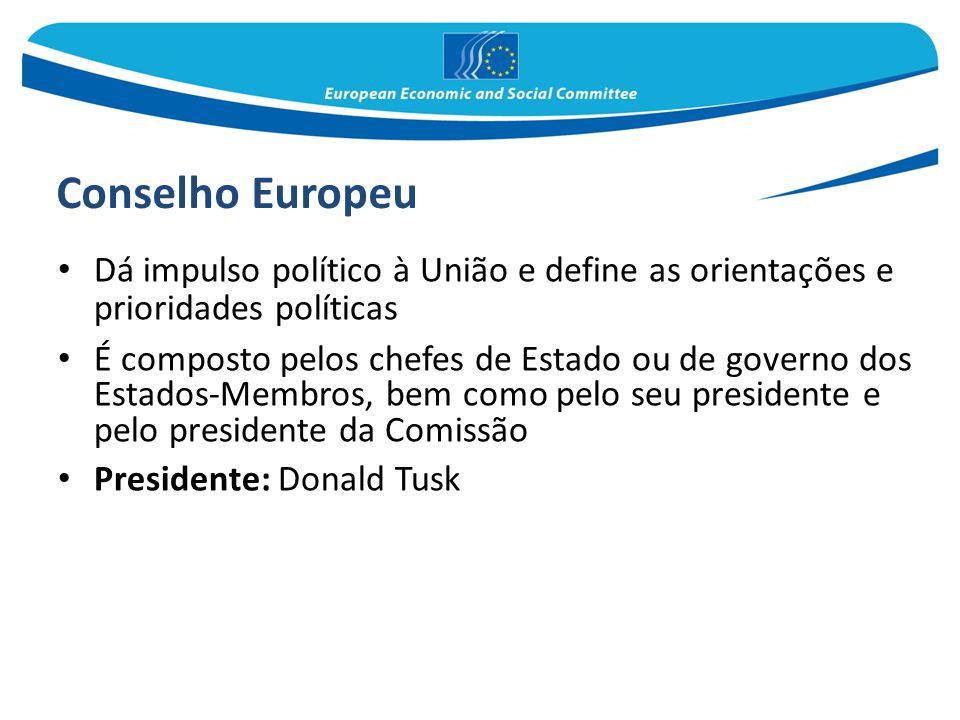 Conselho Europeu Dá impulso político à União e define as orientações e prioridades políticas.