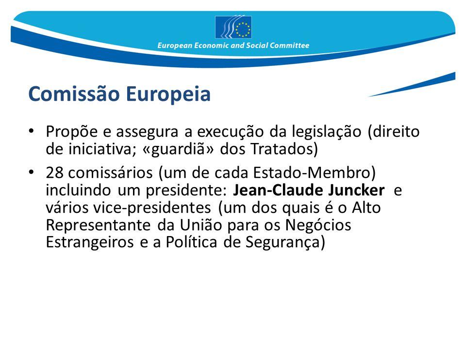 Comissão Europeia Propõe e assegura a execução da legislação (direito de iniciativa; «guardiã» dos Tratados)