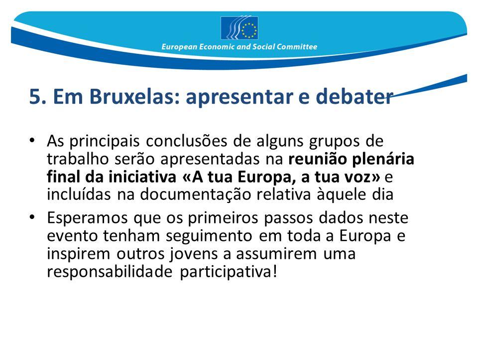 5. Em Bruxelas: apresentar e debater