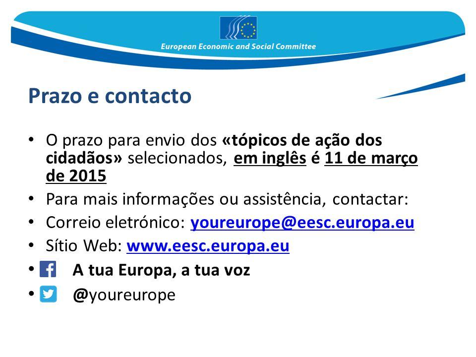 Prazo e contacto A tua Europa, a tua voz @youreurope