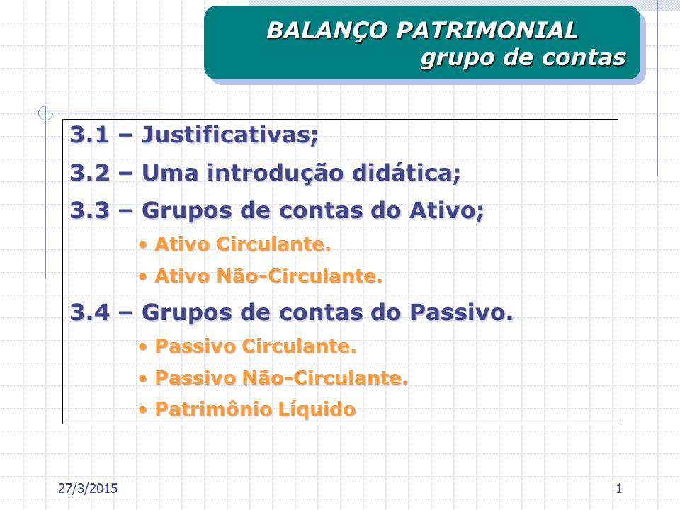 BALANÇO PATRIMONIAL grupo de contas
