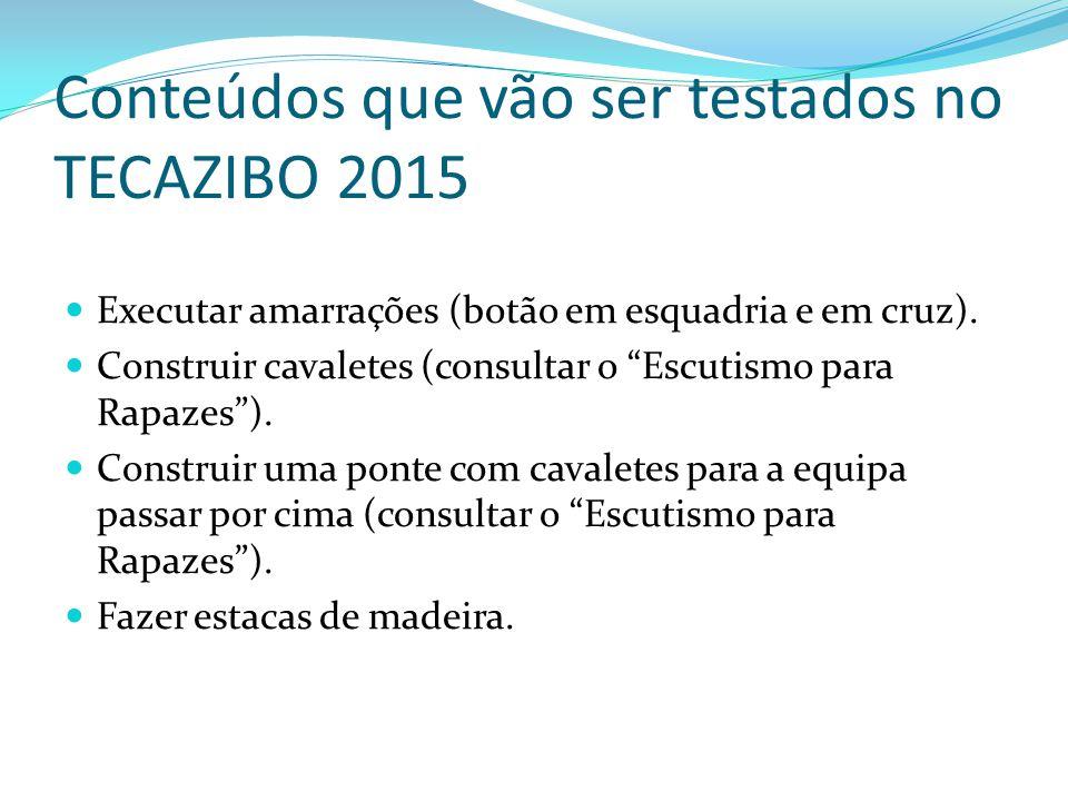 Conteúdos que vão ser testados no TECAZIBO 2015