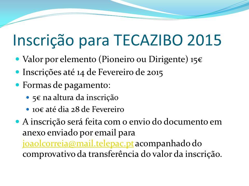 Inscrição para TECAZIBO 2015