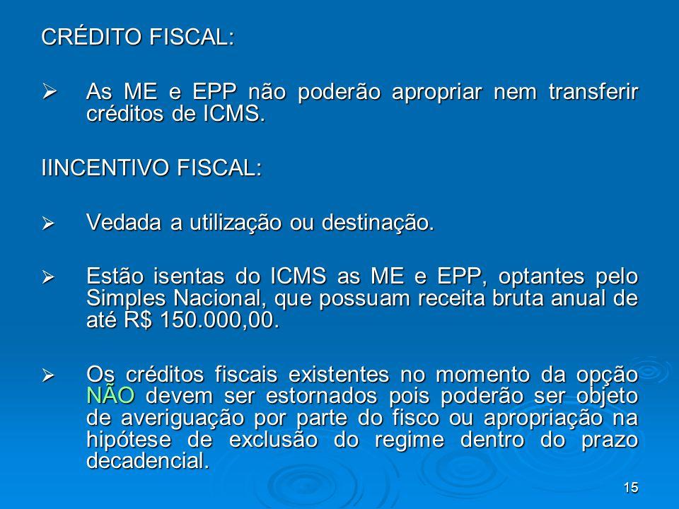 CRÉDITO FISCAL: As ME e EPP não poderão apropriar nem transferir créditos de ICMS. IINCENTIVO FISCAL: