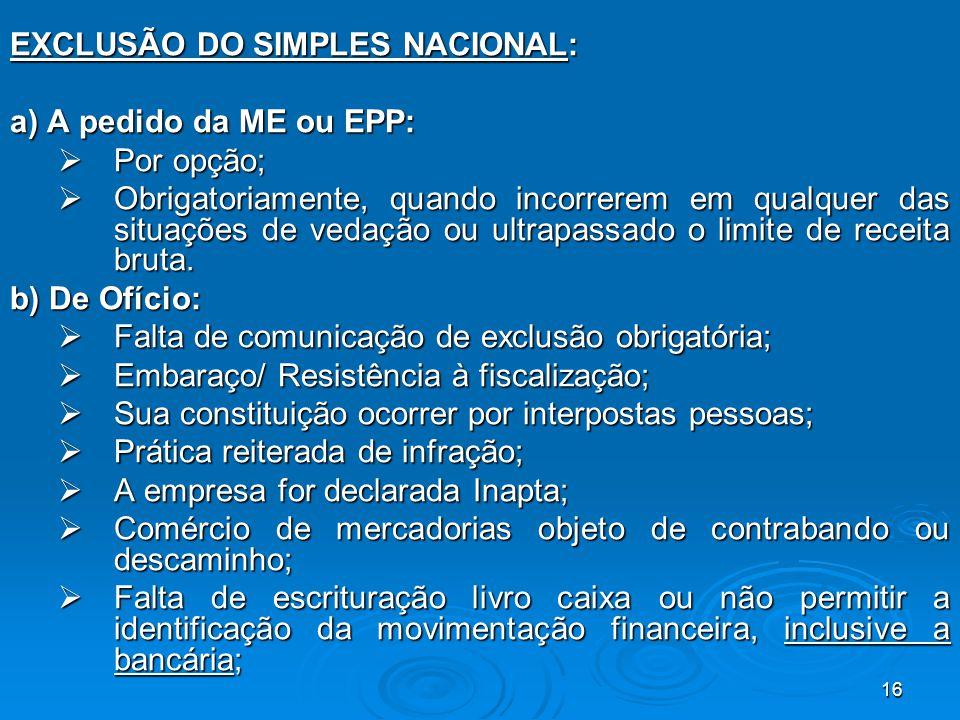 EXCLUSÃO DO SIMPLES NACIONAL:
