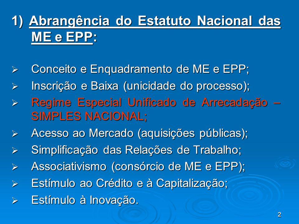 1) Abrangência do Estatuto Nacional das ME e EPP:
