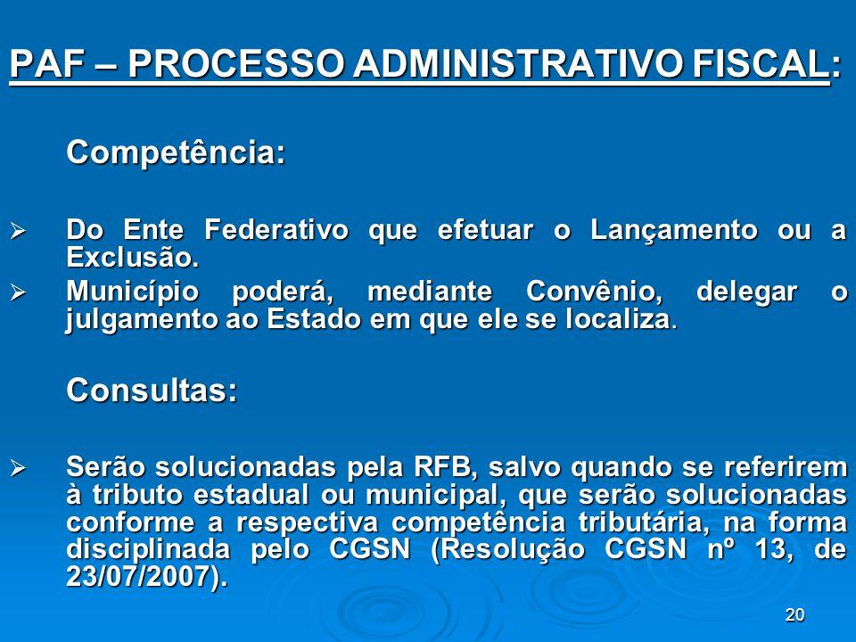 PAF – PROCESSO ADMINISTRATIVO FISCAL: