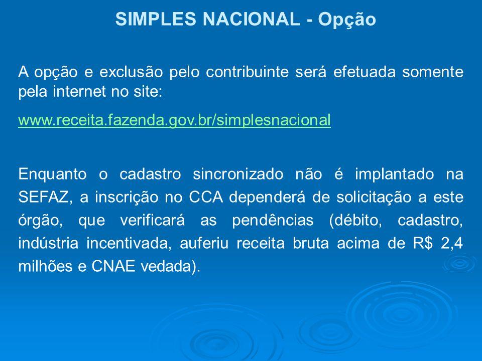 SIMPLES NACIONAL - Opção