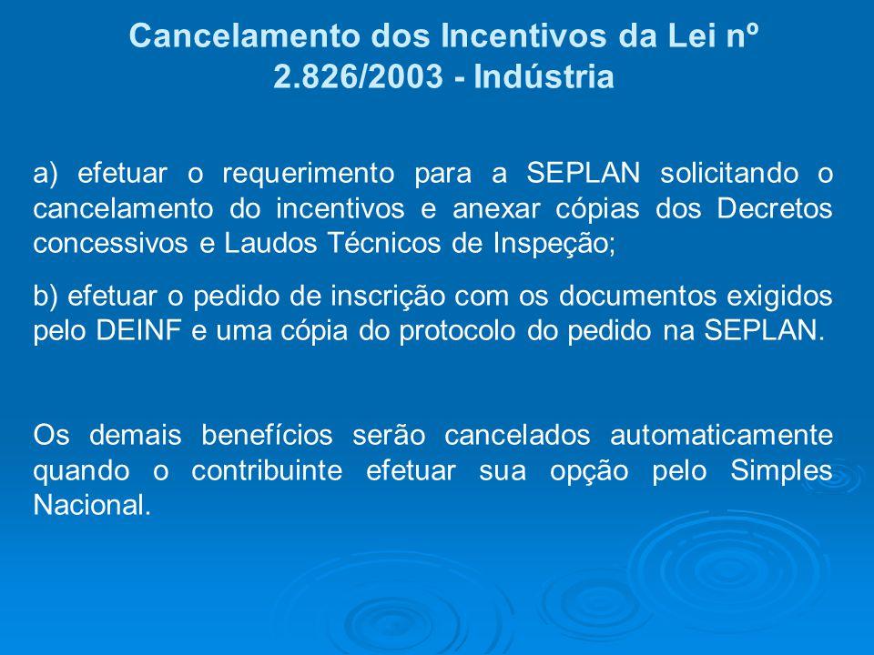 Cancelamento dos Incentivos da Lei nº 2.826/2003 - Indústria