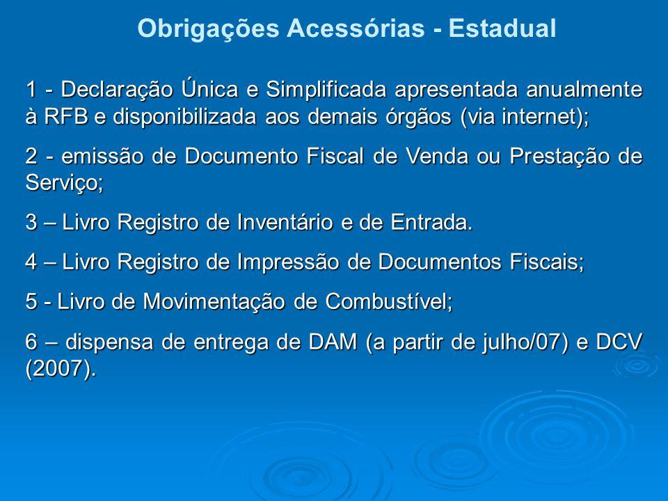 Obrigações Acessórias - Estadual