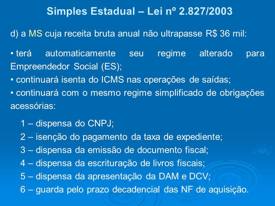 Simples Estadual – Lei nº 2.827/2003