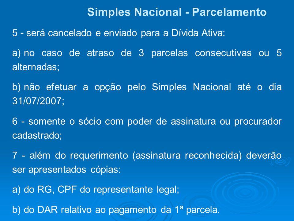 Simples Nacional - Parcelamento