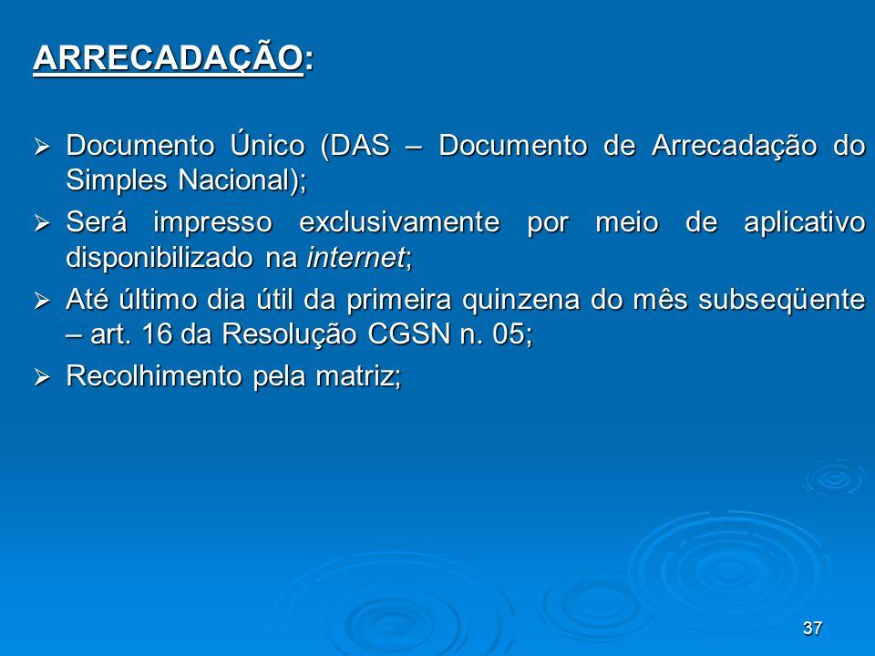 ARRECADAÇÃO: Documento Único (DAS – Documento de Arrecadação do Simples Nacional);