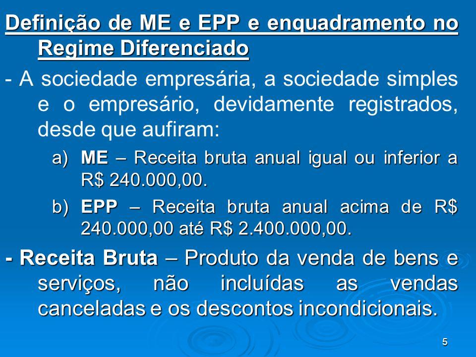 Definição de ME e EPP e enquadramento no Regime Diferenciado