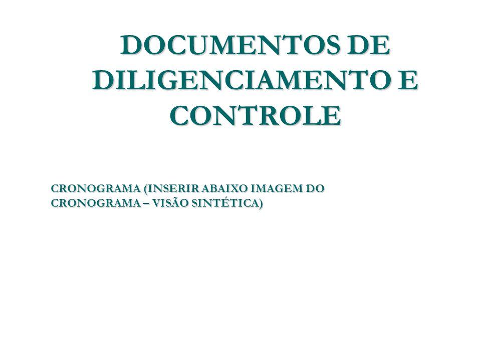 DOCUMENTOS DE DILIGENCIAMENTO E CONTROLE