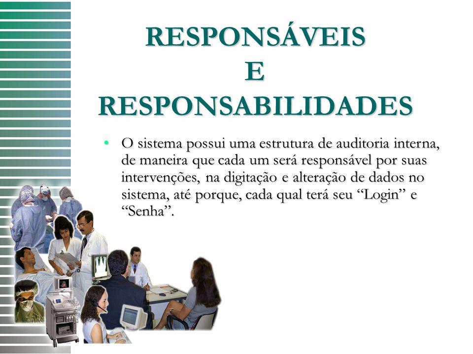 RESPONSÁVEIS E RESPONSABILIDADES