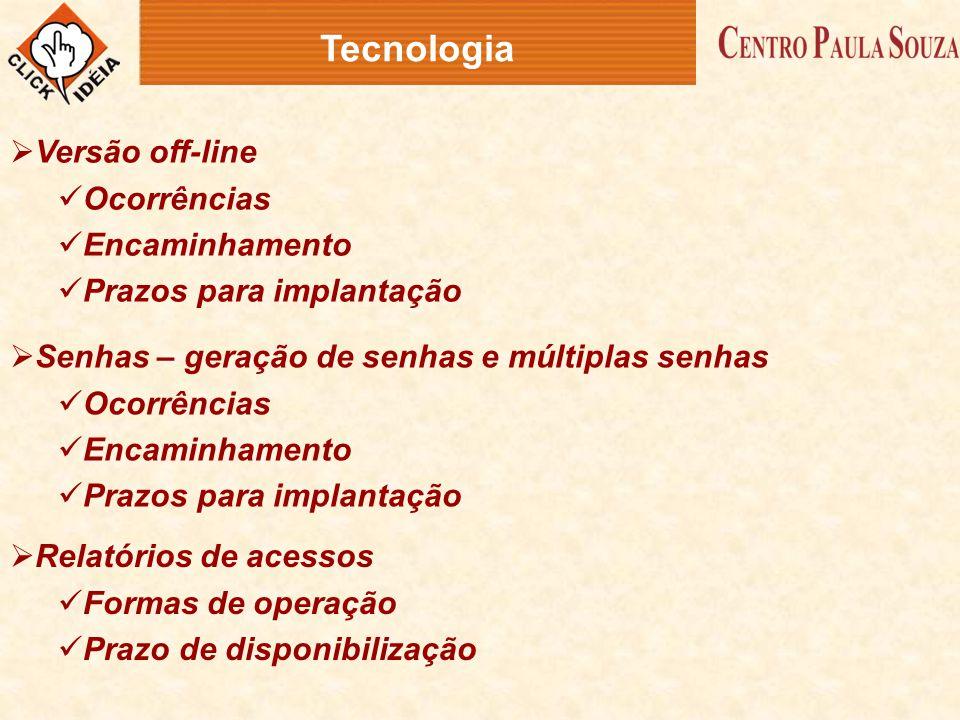Tecnologia Versão off-line Ocorrências Encaminhamento