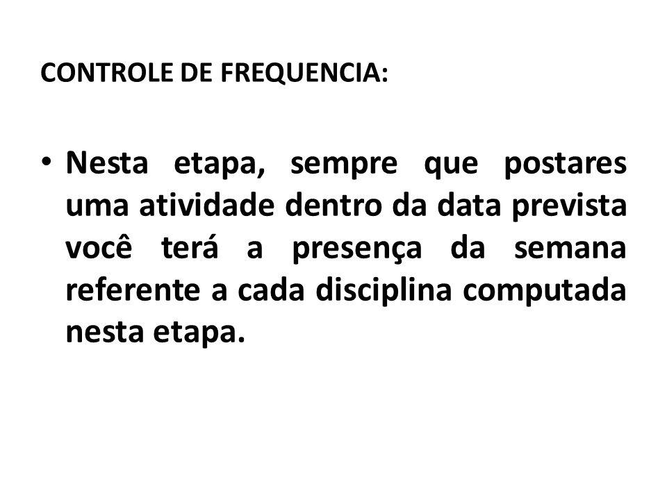 CONTROLE DE FREQUENCIA:
