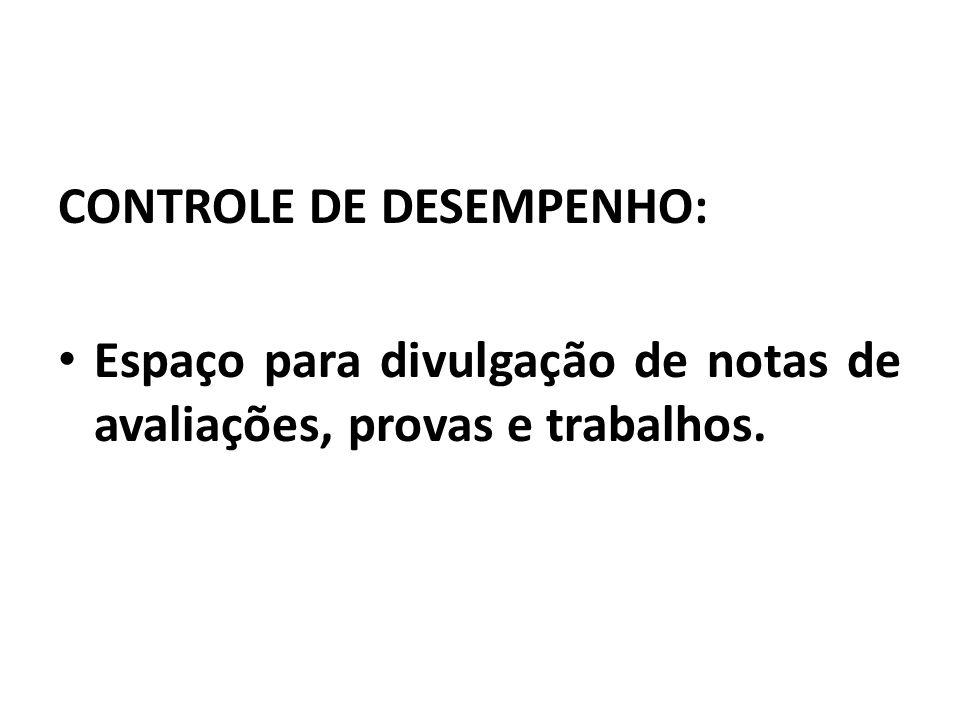 CONTROLE DE DESEMPENHO:
