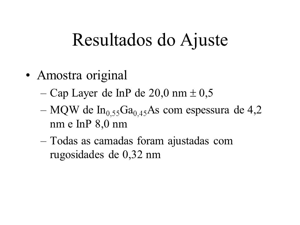 Resultados do Ajuste Amostra original