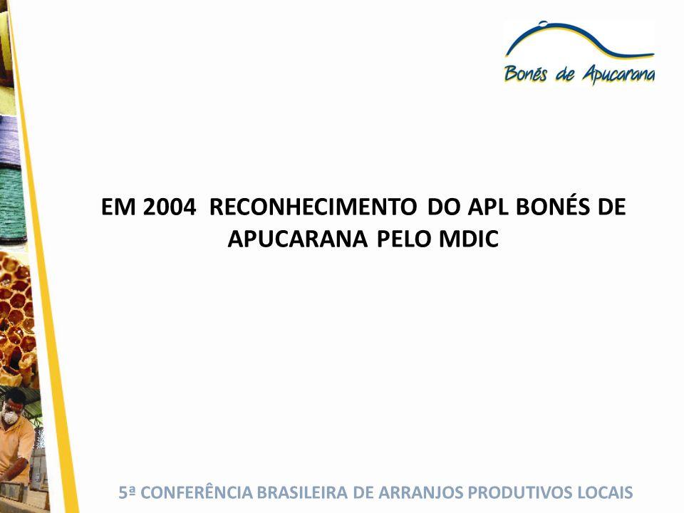 EM 2004 RECONHECIMENTO DO APL BONÉS DE APUCARANA PELO MDIC