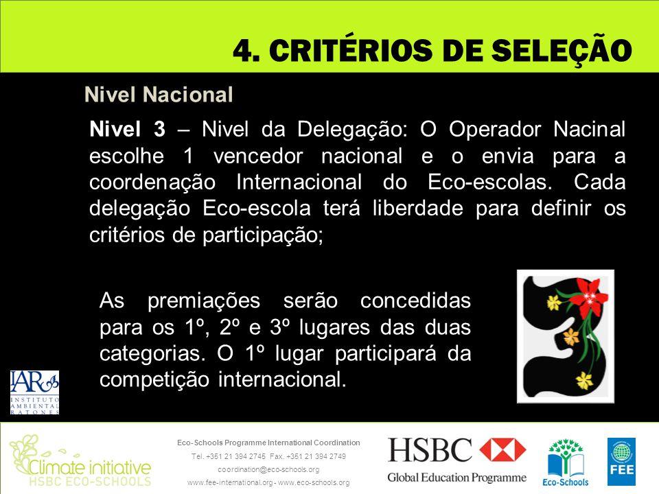 4. CRITÉRIOS DE SELEÇÃO Nivel Nacional