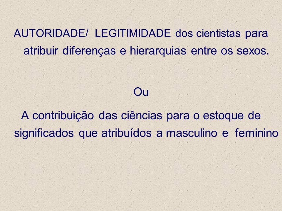 AUTORIDADE/ LEGITIMIDADE dos cientistas para atribuir diferenças e hierarquias entre os sexos.