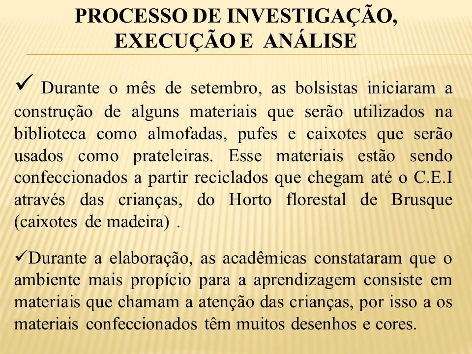 PROCESSO DE INVESTIGAÇÃO, EXECUÇÃO E ANÁLISE