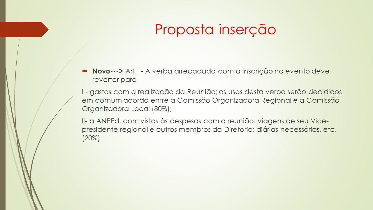 Proposta inserção Novo---> Art. - A verba arrecadada com a inscrição no evento deve reverter para.