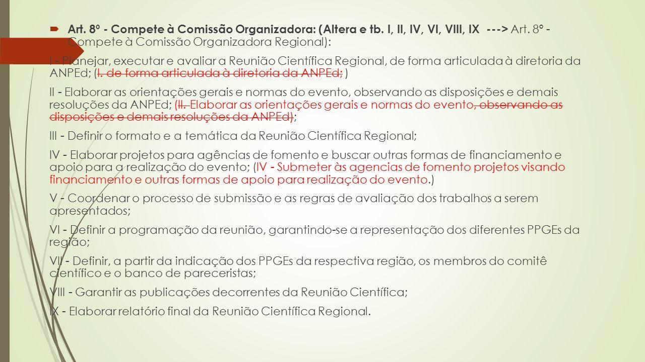 Art. 8º - Compete à Comissão Organizadora: (Altera e tb