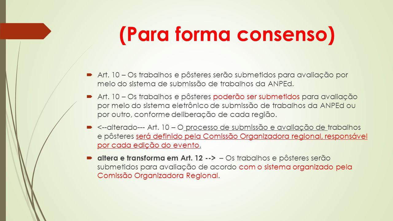 (Para forma consenso) Art. 10 – Os trabalhos e pôsteres serão submetidos para avaliação por meio do sistema de submissão de trabalhos da ANPEd.