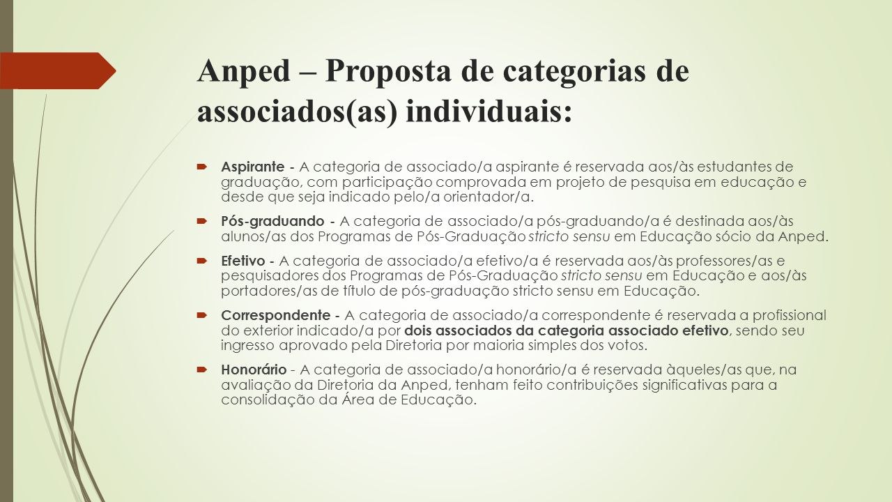 Anped – Proposta de categorias de associados(as) individuais: