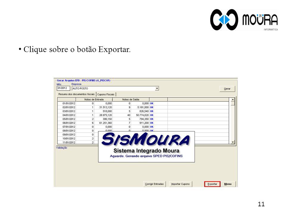 Clique sobre o botão Exportar.