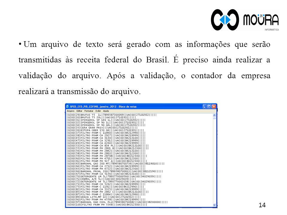 Um arquivo de texto será gerado com as informações que serão transmitidas às receita federal do Brasil.