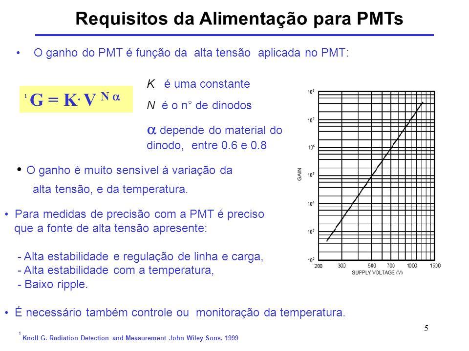 Requisitos da Alimentação para PMTs