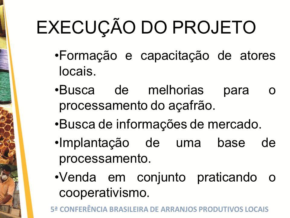 EXECUÇÃO DO PROJETO Formação e capacitação de atores locais.