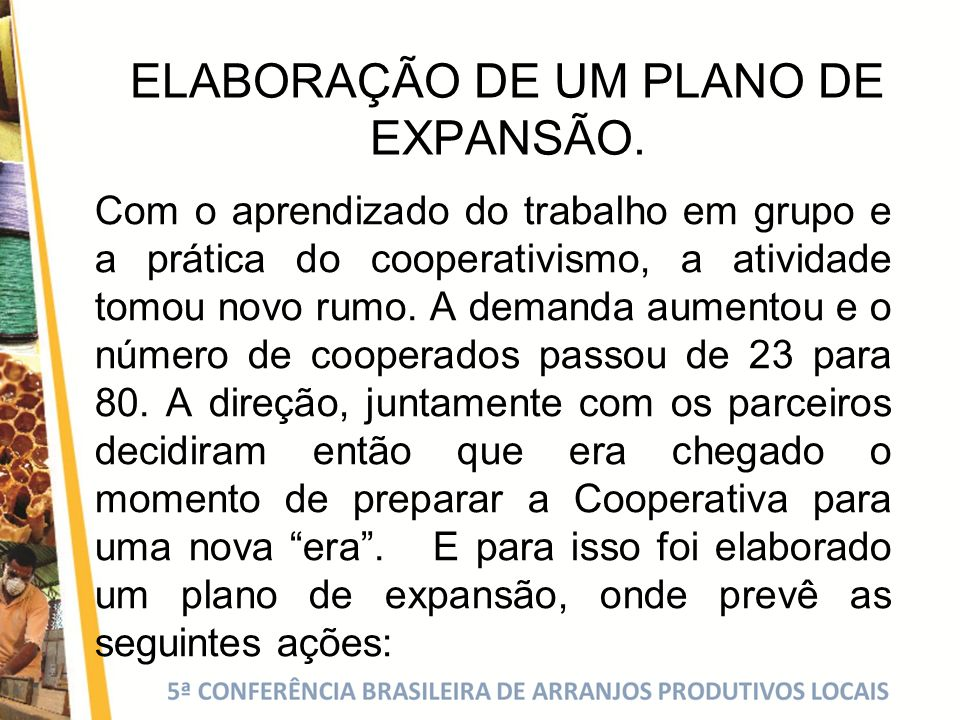 ELABORAÇÃO DE UM PLANO DE EXPANSÃO.