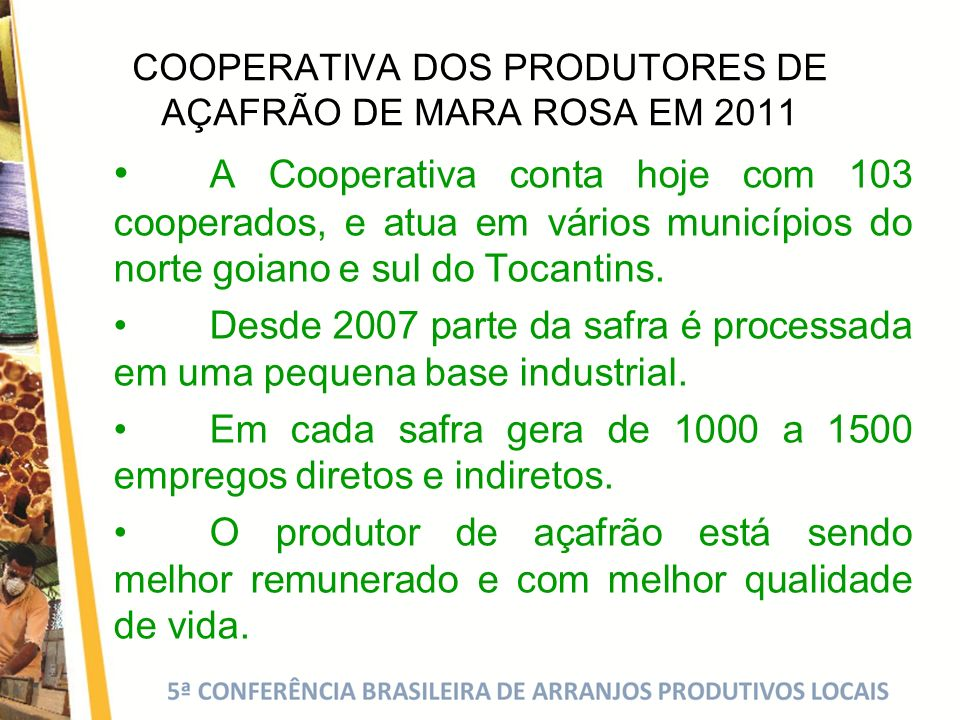 COOPERATIVA DOS PRODUTORES DE AÇAFRÃO DE MARA ROSA EM 2011