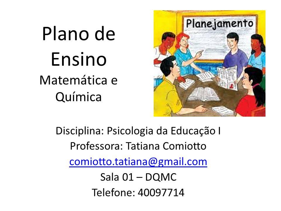 Plano de Ensino Matemática e Química