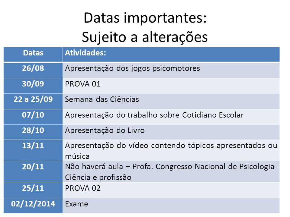 Datas importantes: Sujeito a alterações