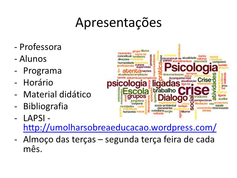 Apresentações - Professora - Alunos Programa Horário Material didático