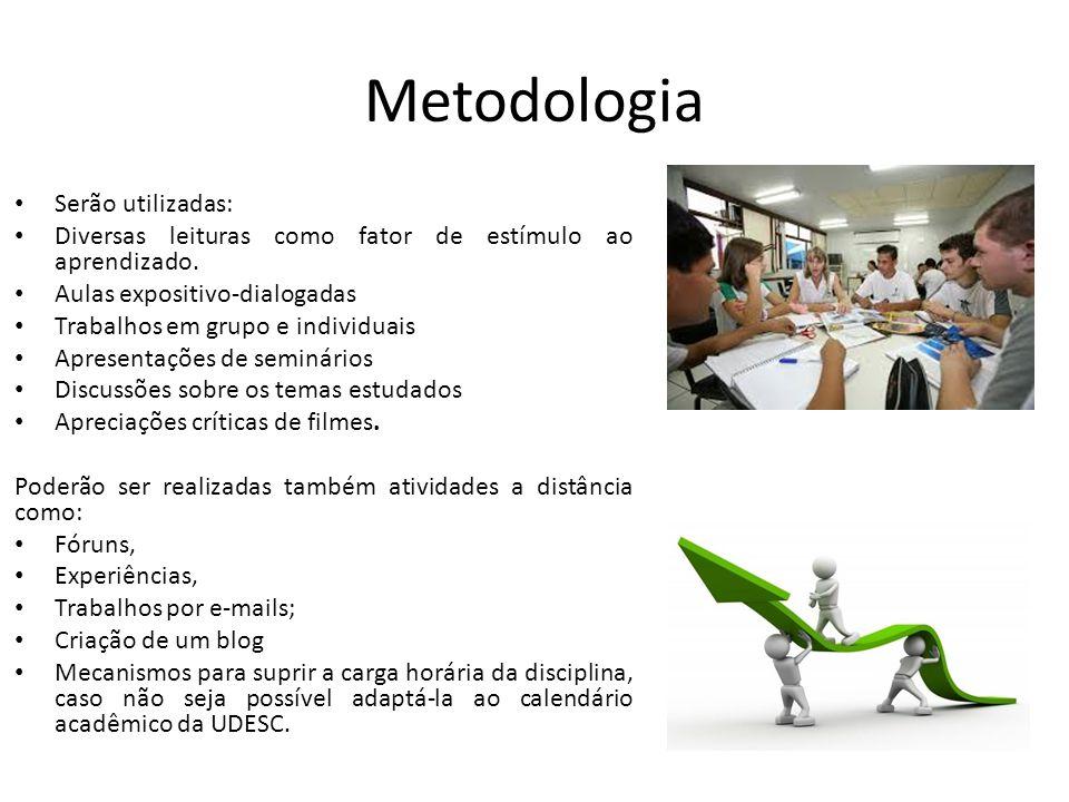 Metodologia Serão utilizadas: