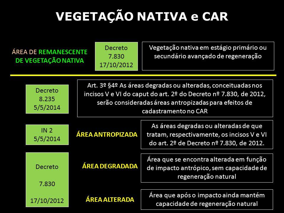 VEGETAÇÃO NATIVA e CAR Decreto 7.830 17/10/2012