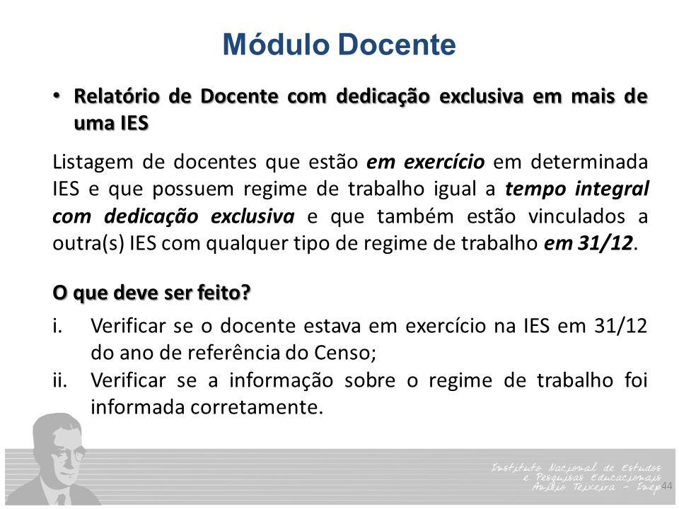 Módulo Docente Relatório de Docente com dedicação exclusiva em mais de uma IES.