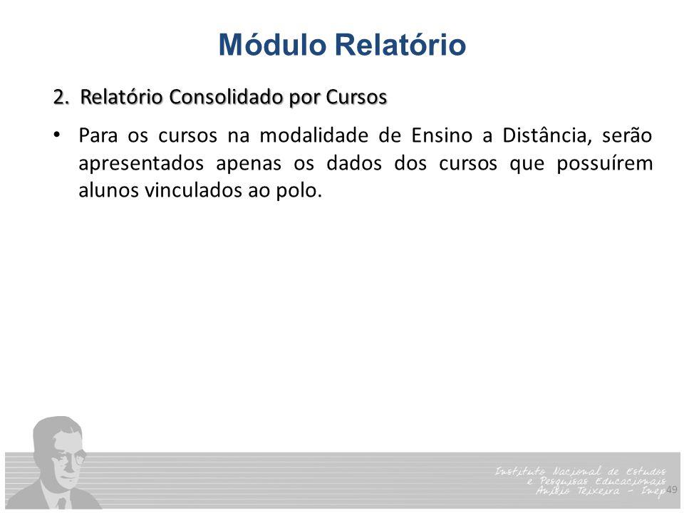 Módulo Relatório 2. Relatório Consolidado por Cursos